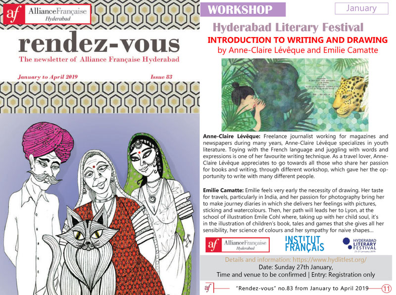 Article workshop festival du livre Hyderabad, Inde