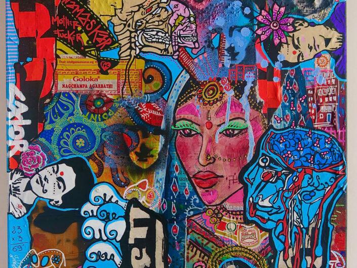 Frida want Corto In India, Toile, Acrylique, collage, 50x60 cm/2021 Binôme